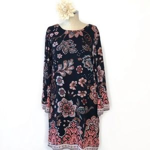 ANTHROPOLOGIE floral print bell sleeve tunic #C08